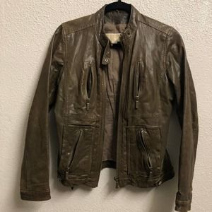 Michael Kors Womens S leather brown jacket